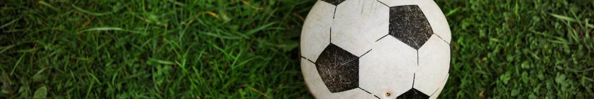 Plastikfußball auf einer Wiese